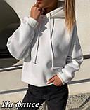 Женское худи теплое осеннее зимнее трехнить на флисе черное, белое, бежевое, пудровое 42-46 48-52 однотонное, фото 6