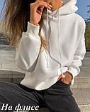 Женское худи теплое осеннее зимнее трехнить на флисе черное, белое, бежевое, пудровое 42-46 48-52 однотонное, фото 7