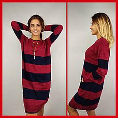 Платье женское красное с синим TU0365, шерсть и акрил, универсальный 44-48