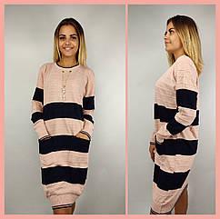 Платье женское розовое с синим TU0367, шерсть и акрил, универсальный 44-48