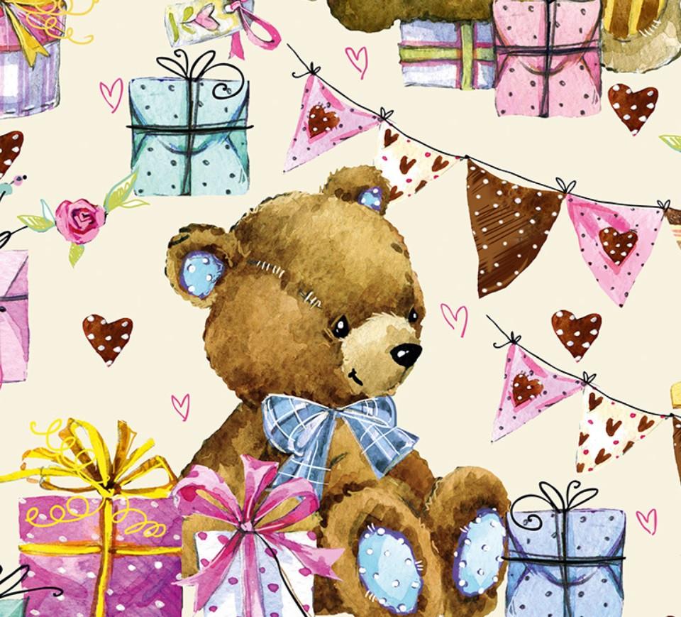 Подарочный бумажный пакет ЧАШКА 16*16*8 см Мишка