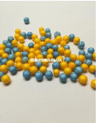 Пенопластовые шарики для слайма «Микс голубых и желтых», 7-9 мм, фото 2