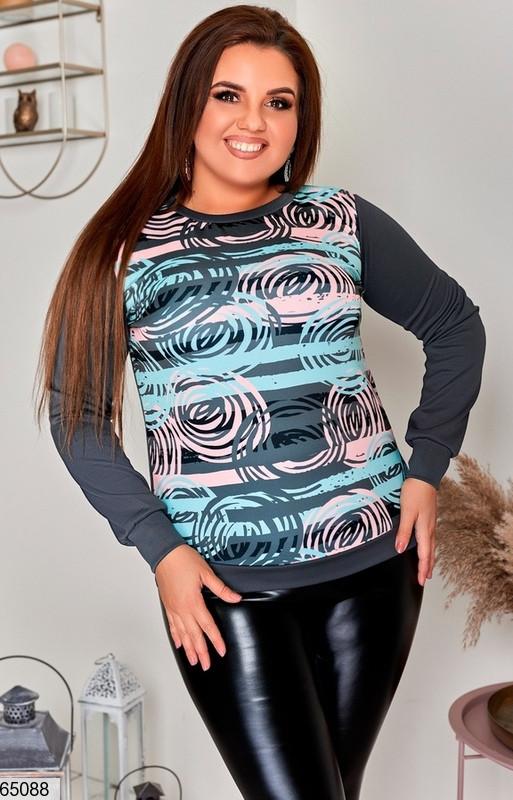 Жіноча кофта светр з дайвінгу з цікавим принтом, батал великі розміри