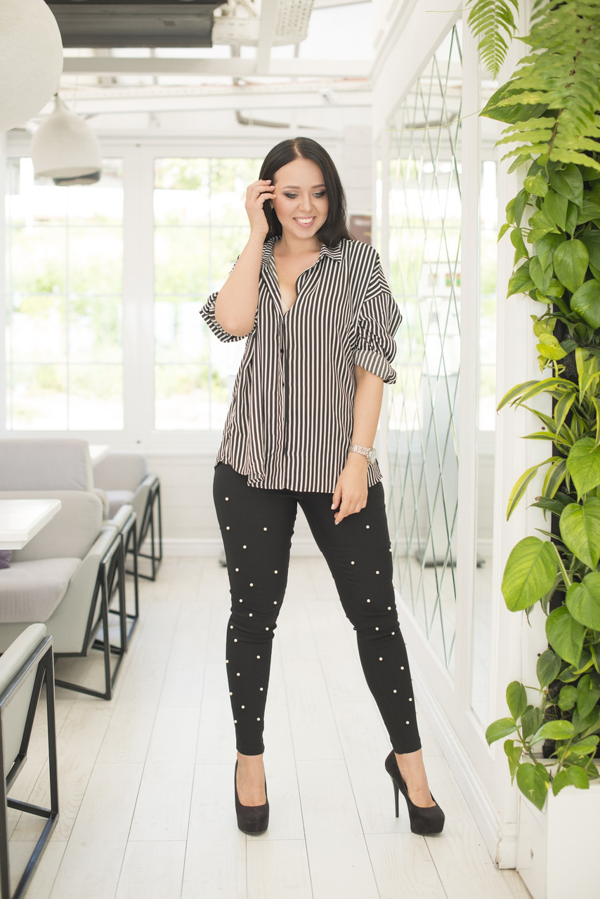 Стильні жіночі джинсові штани жіночі з набивним перлами, батал великі розміри