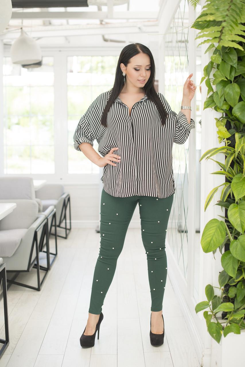 Стильные женские джинсовые штаны лосины с набивным жемчугом, батал большие размеры