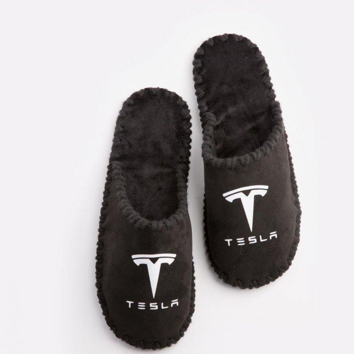 Мужские домашние тапочки Tesla черные закрытые, Family Story