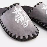 Мужские домашние тапочки Тигр с Короной графитовые закрытые, Family Story, 42-43 (n0107007-43fw), фото 3