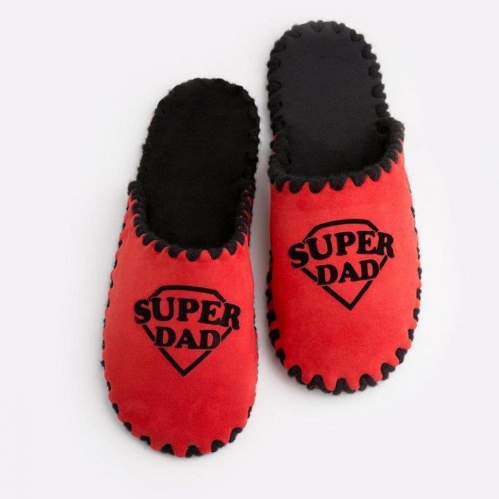 Мужские домашние тапочки Super Dad красные закрытые, Family Story, Свой размер (n0104025-fb)