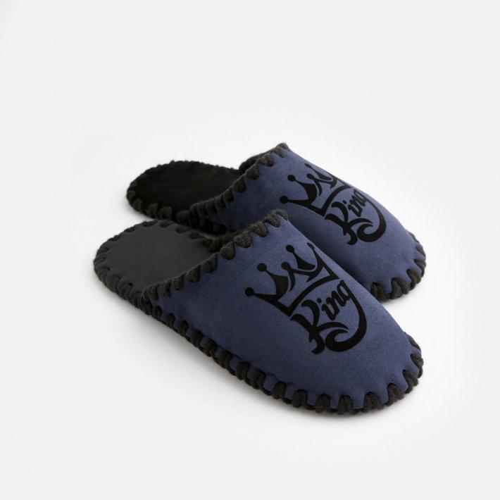 Мужские домашние тапочки King темно-синие закрытые, Family Story, 42-43 (n0105029-43fb)