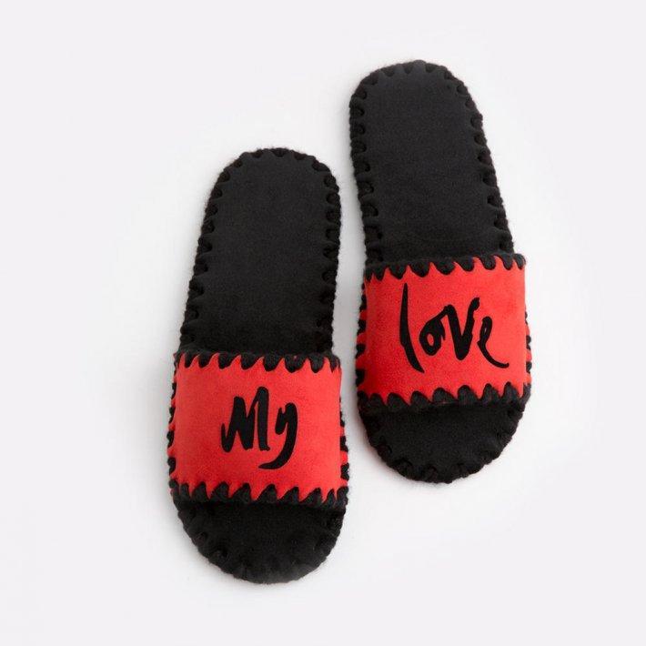 Женские домашние тапочки My Love красные открытые, Family Story