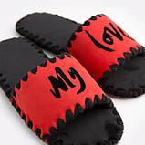 Женские домашние тапочки My Love красные открытые, Family Story, фото 4