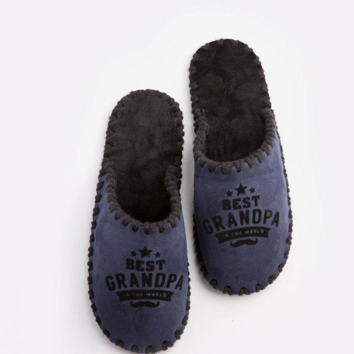 Мужские домашние тапочки Best Grandpa In The World темно-синие закрытые, Family Story, 46-47 (n0105020-47fb)