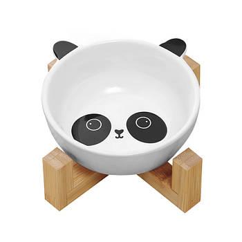 Миска для котов и собак Taotaopets 115505 Панда керамическая на деревянной подставке