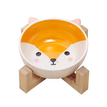 Миска для котов и собак Taotaopets 115505 Лиса керамическая на деревянной подставке