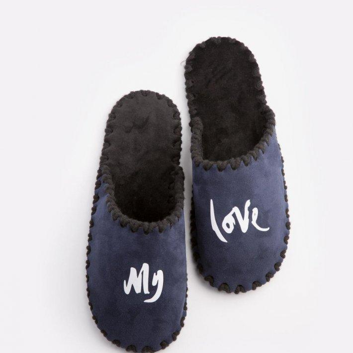 Мужские домашние тапочки My love темно-синие закрытые, Family Story, 40-41 (n0105035-41fw)
