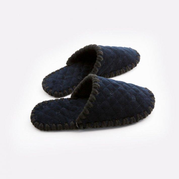 Мужские домашние тапочки стеганые темно-синие закрытые, Family Story, 44-45 (ns0802-45f)