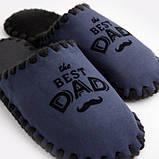 Мужские домашние тапочки The Best Dad темно-синие закрытые, Family Story, Свой размер (n0105019-fb), фото 3