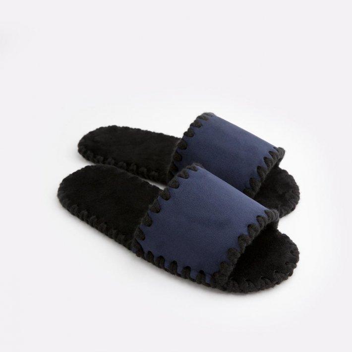 Мужские домашние тапочки темно-синие открытые, Family Story, Свой размер (u0105-f)