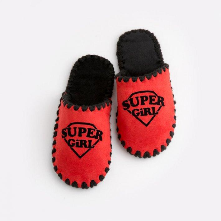 Детские домашние тапочки Super Girl красные закрытые, Family Story, Свой размер (n0104026-fb)