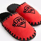 Детские домашние тапочки Super Girl красные закрытые, Family Story, Свой размер (n0104026-fb), фото 3