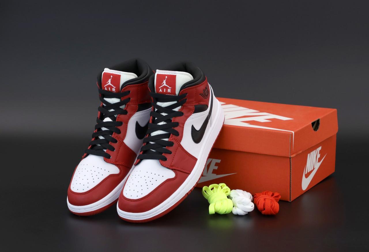 Мужские кроссовки Nike Air Jordan. White Red Black. ТОП Реплика ААА класса.