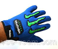 Текстильные мотоперчатки Monster Energy синие