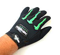 Текстильні мотоперчатки Monster Energy чорні, фото 1