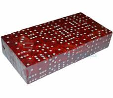 Кубик игральный прозрачный. Цвет: красный. №18. В упаковке 100 шт.