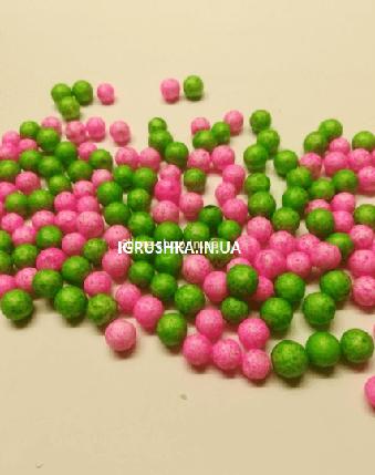 Пенопластовые шарики для слайма «Микс зеленых и розовых», 7-9 мм, фото 2