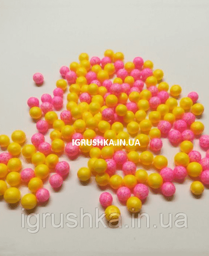Пенопластовые шарики для слайма «Микс желтых и розовых», 7-9 мм