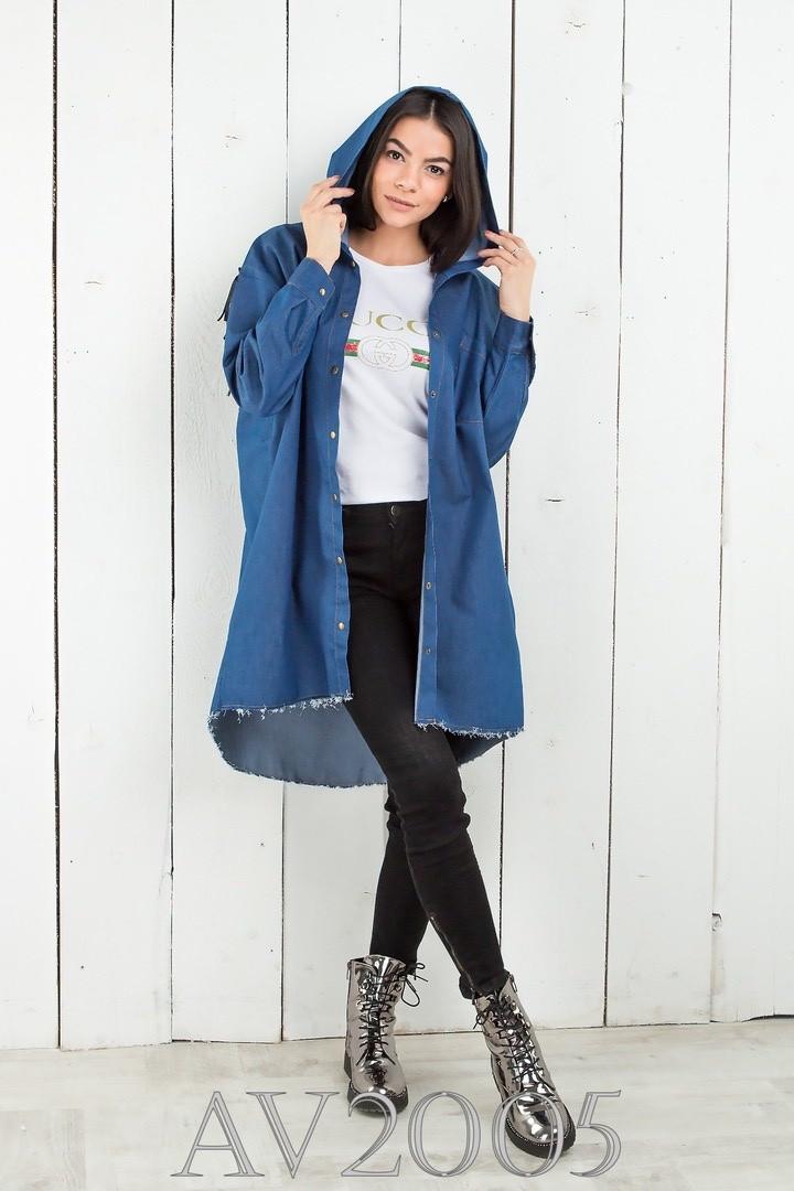 Удлиненная рубашка джинсовая с капюшоном (42-46)