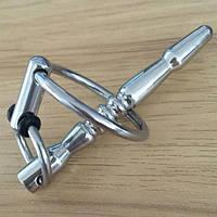 Катетер для пениса с кольцом серебристого цвета