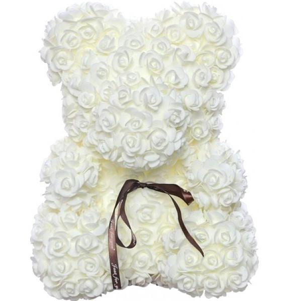 Мишка из роз Bear в подарочной коробке 25 см Белый