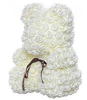 Мишка из роз Bear в подарочной коробке 25 см Белый, фото 2