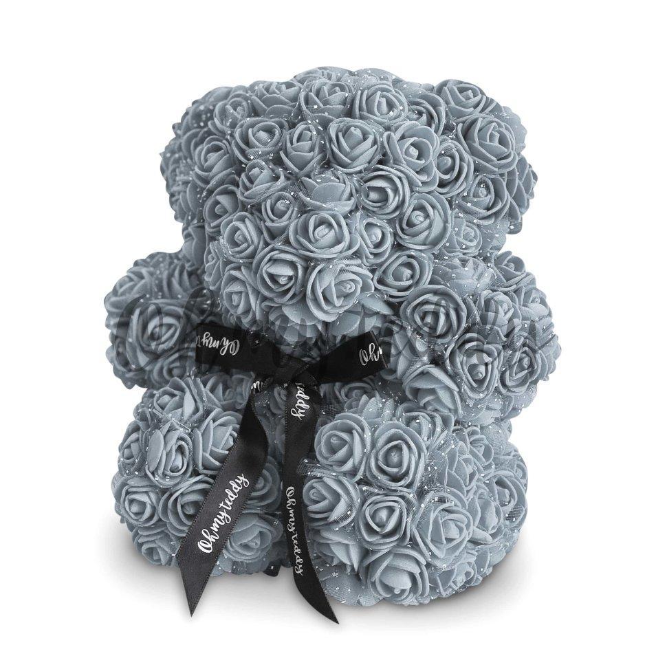 Мишка из роз Bear в подарочной коробке 25 см Серый