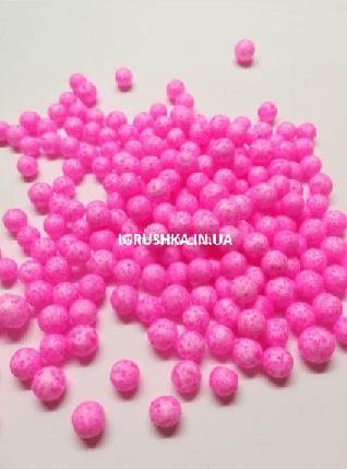 Пенопластовые шарики для слайма крупные розовые, 7-9 мм, фото 2