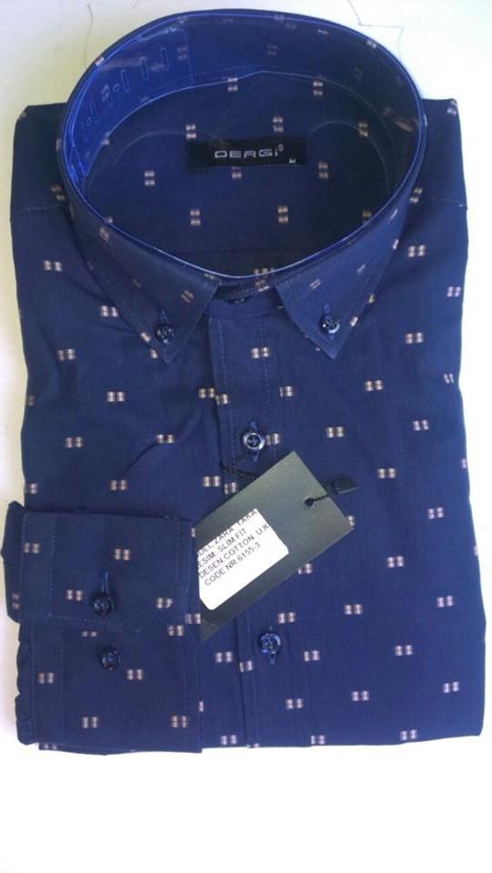 Елегантна Чоловіча сорочка DERGI з коміром на ґудзиках приталені з довгим рукавом код 6155-3
