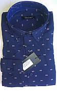 Элегантная Мужская рубашка DERGI с воротником на пуговицах приталенная с длинным рукавом  код 6155-3