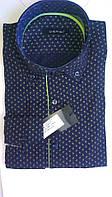 Элегантная Мужская рубашка DERGI с воротником на пуговицах приталенная с длинным рукавом код 6232-1