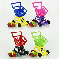 Детская игровая тележка с продуктами, игра супермаркет, тележка с корзиной для катания и игрушек, 693