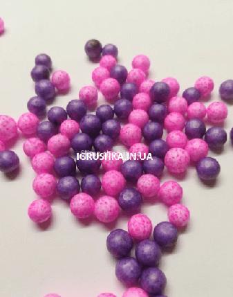 Пенопластовые шарики для слайма «Микс фиолетовых и розовых», 7-9 мм, фото 2