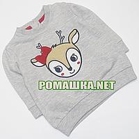 Детский реглан (футболка с длинным рукавом) р. 92 для девочки ткань 100% хлопок 1163 Серый