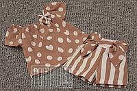 Детский летний костюм р 104 2-3 года комплект для девочки футболка шорты высокая посадка на лето 6038 Пудровый