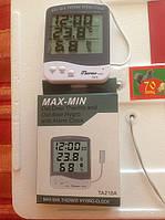 Влагомер для инкубатора (гигрометр), термометр, часы MAX-MIN TA218A с выносным датчиком влаги и температуры