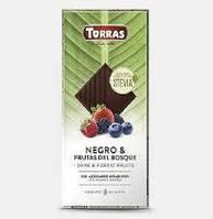 Шоколад черный без сахара и глютена с лесными ягодами Torras Negro & Frutas del Bosquo 125 г Испания, фото 1