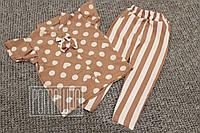 Детский летний костюм р 98 2-3 года комплект для девочки блузка брюки с высокой посадкой на лето 6040 Пудровый