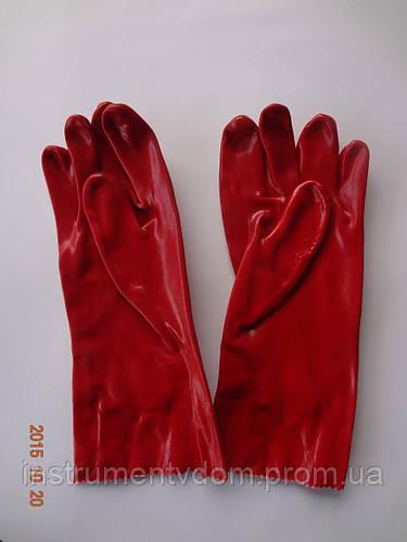 Перчатки (краги) красные кислостойкие х/б с полным ПВХ покрытием MASTERTOOL (упаковка 12 пар) - фото 3