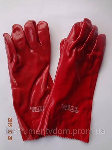 Перчатки (краги) красные кислостойкие х/б с полным ПВХ покрытием MASTERTOOL (упаковка 12 пар) - фото 2