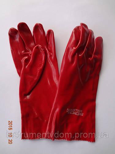 Перчатки (краги) красные кислостойкие х/б с полным ПВХ покрытием MASTERTOOL (упаковка 12 пар) - фото 1