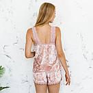 Піжама жіноча з мармурового велюру Julia. Комплект Майка і Шорти. Мерехтливої кольору, фото 3